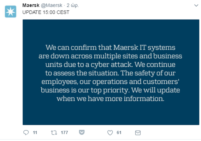 Maersk IT systems - tweet